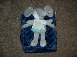 Hudson Baby Elephant Plush Toy Fleece Chevron Navy Blue Blan