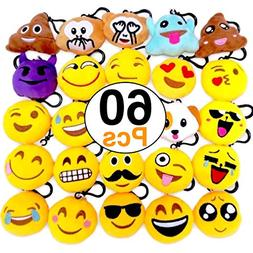 OHill 60 Pack Emoji Plush Pillows Mini Keychain Decorations