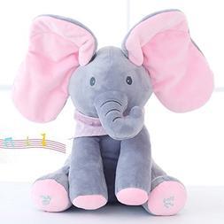 ENTOY Peek-a-Boo Elephant Toys Babys Animated Flappy Plush T