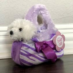 Aurora Fancy Pals White Puppy Dog Plush in Purple Carrier ~
