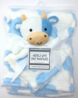 Farm COW Blue White Baby Blanket with plush toy My Little Bl