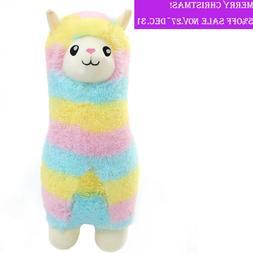 Winsterch Fluffy Soft Plush Toy Rainbow Alpaca Stuffed Llama