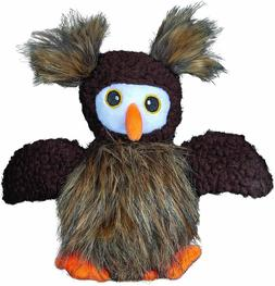 "Spunky Pup Furry Friends Fuzzy Owl With Ball Squeaker 8"" Dog"