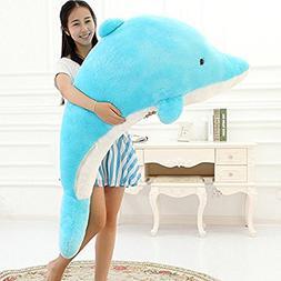 MorisMos Giant Dolphin Stuffed Animal Plush Toy Gift Blue 55