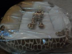 Giraffe Animal Print Dog Pet Bed- Soft Plush Faux Fur CUSHIO