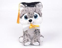 "Linzy Toys 8"" Graduation Husky Animal Plush"