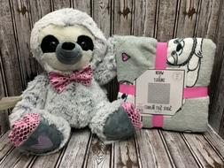 Gray Sloth Blanket Throw & Plush Set NEW 2 Pc Set Stuffed To