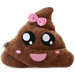 GrownUp Toys Poop Plush Pillow Round Cushion Brown Pink, 35
