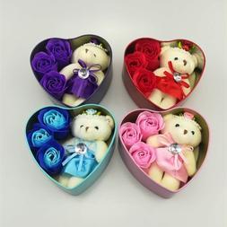 Heart-Shaped Rose Soap Flower with <font><b>Plush</b></font>