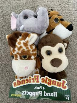 Kelly Toy Jungle Friends Plush Animal Hand Puppets 4 Pack Ki