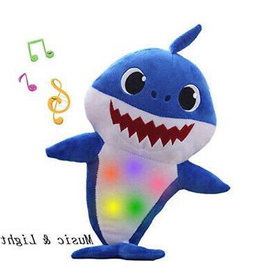 2019 LED Light Shark Toys English Song Toy Baby Plush US