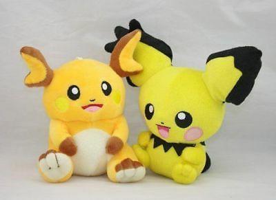 2x Pokemon Raichu /& Pichu Pikachu Character Stuffed Animal Doll Plush Toy New