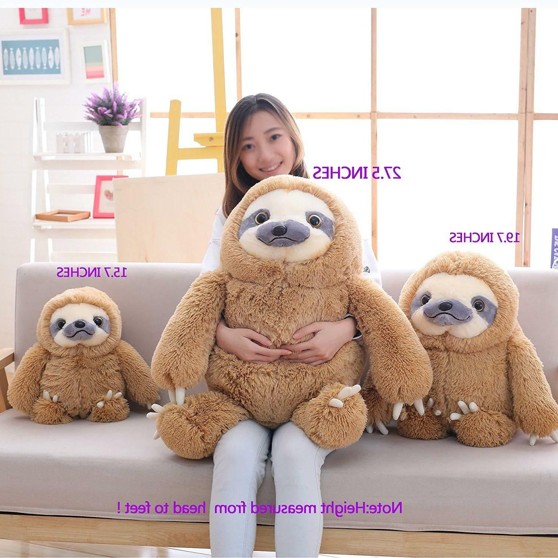 Winsterch Kids Stuffed Sloth Plush Gift Brown 15.7''