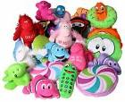 Cute Assortment Of Small Plush Toy Donuts, Phones, Creatures