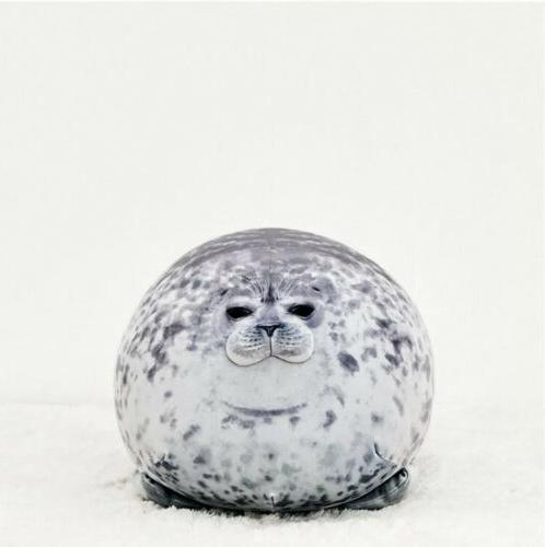 Cute Chubby Blob Seal Plush Pillow Ocean Animal Stuffed Doll