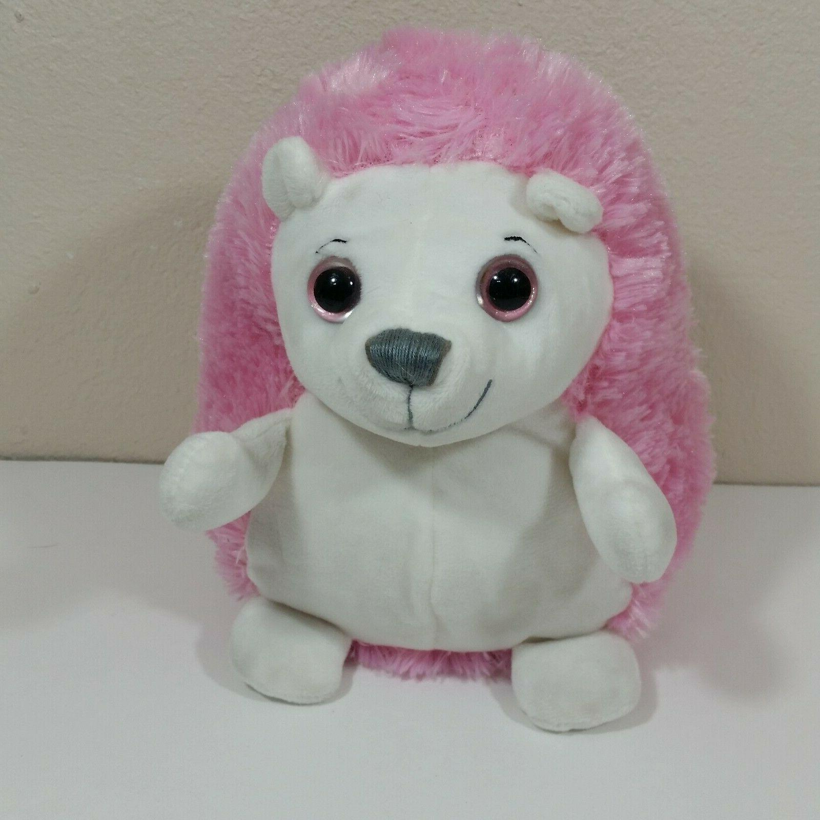 demdaco hedgehog 8 inch plush pink white