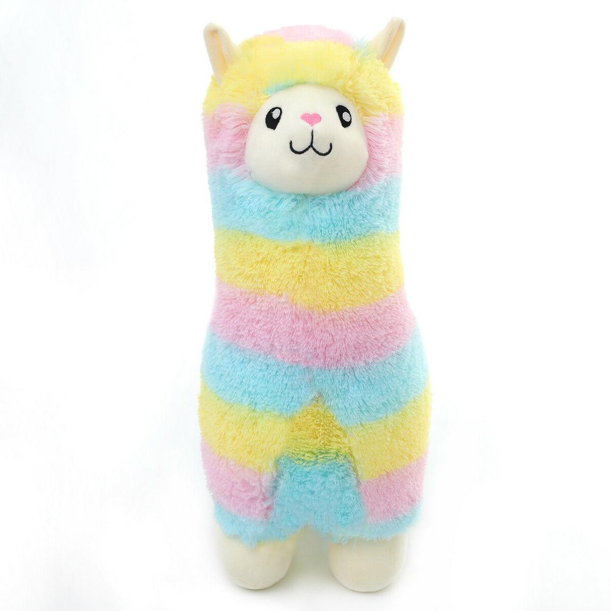 fluffy soft plush toy rainbow alpaca stuffed
