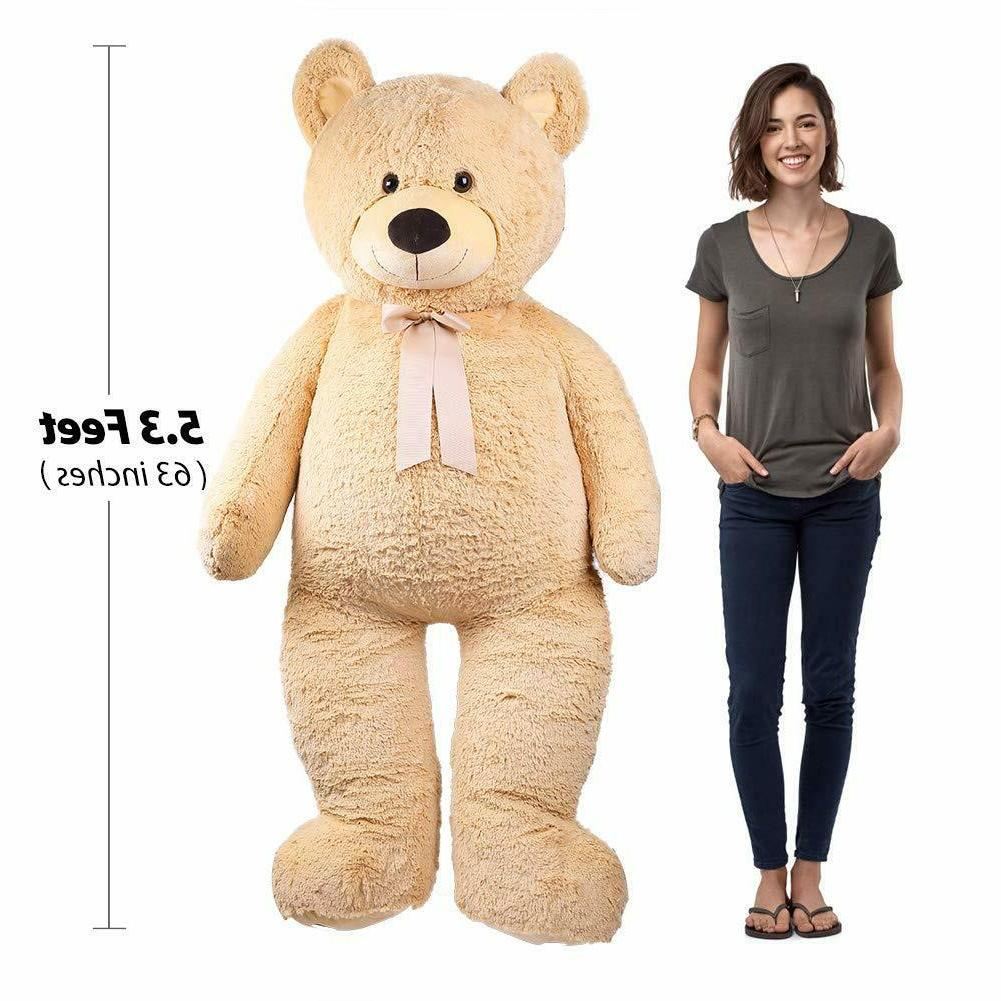 "Giant Teddy Bear 63"" Plush Stuffed Animal Toys Valentine Kid"