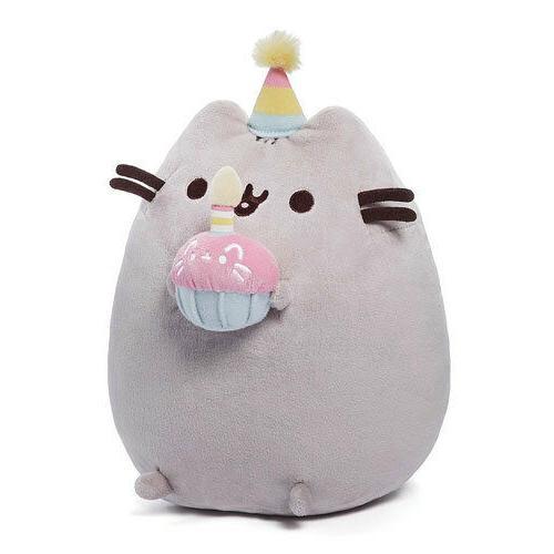 10.5 Inch Gund Happy Birthday Pusheen Plush Cat Grey Tabby K