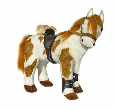 horse pinto w saddle stuffed animal noble