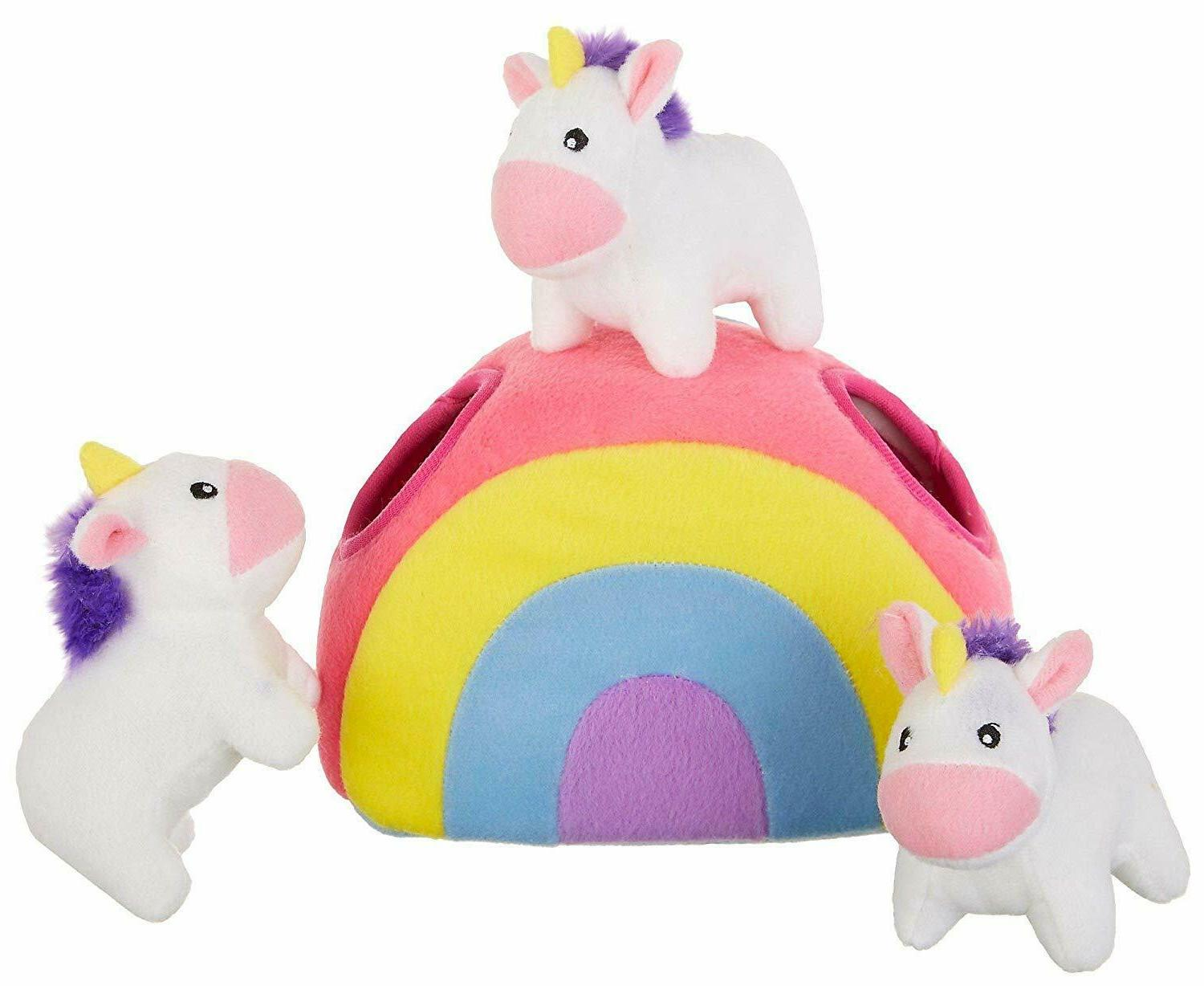 Interactive Squeaky Plush Dog Toys Hide And Seek Unicorns In