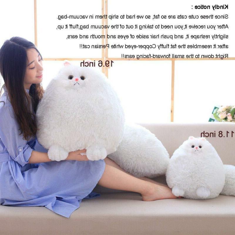 Winsterch Stuffed Cats Toys Gift Doll,White Plush,11.8