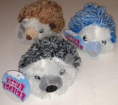 lot of 3 fuzzy friends hedgehog plush