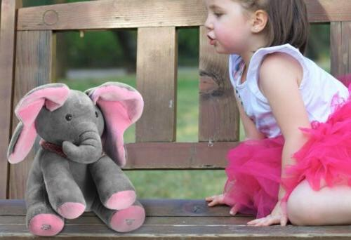 Peek-a-Boo Singing Elephant Stuffed Doll Toy For-Baby