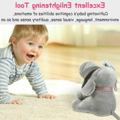 Peek-a-Boo Animated Singing Elephant Doll Toy For-Baby