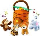 Kleeger Plush Talking Jungle Animals Toy Set  with Carrier