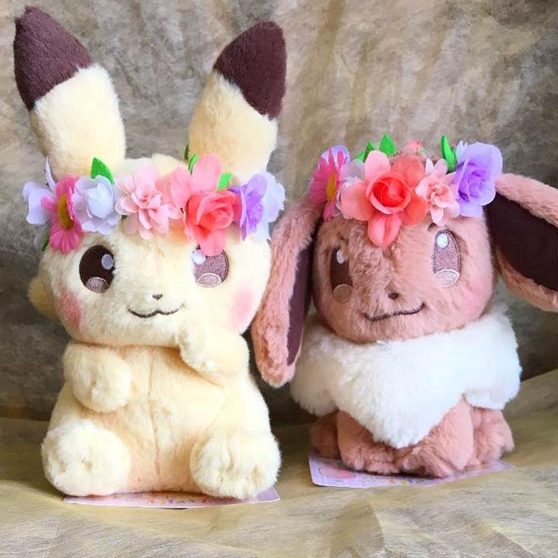 pokemon fete spring eevee and pikachu plush