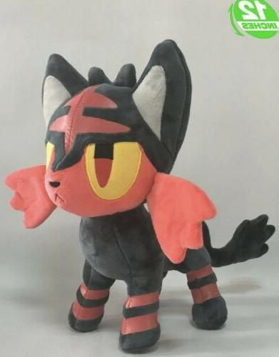 """Pokémon Litten Plush Stuffed Animal Toy 12"""" US Seller"""