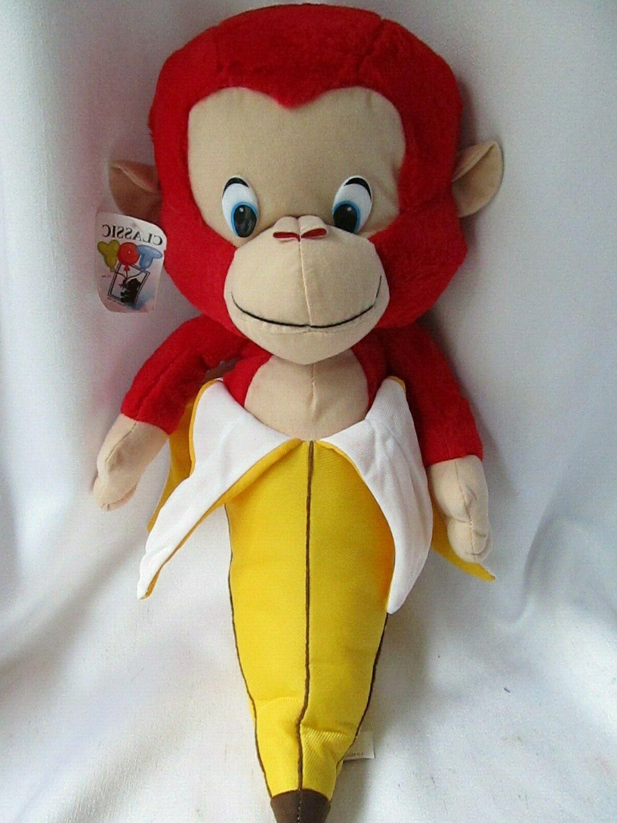 red monkey banana peel plush chimp 21
