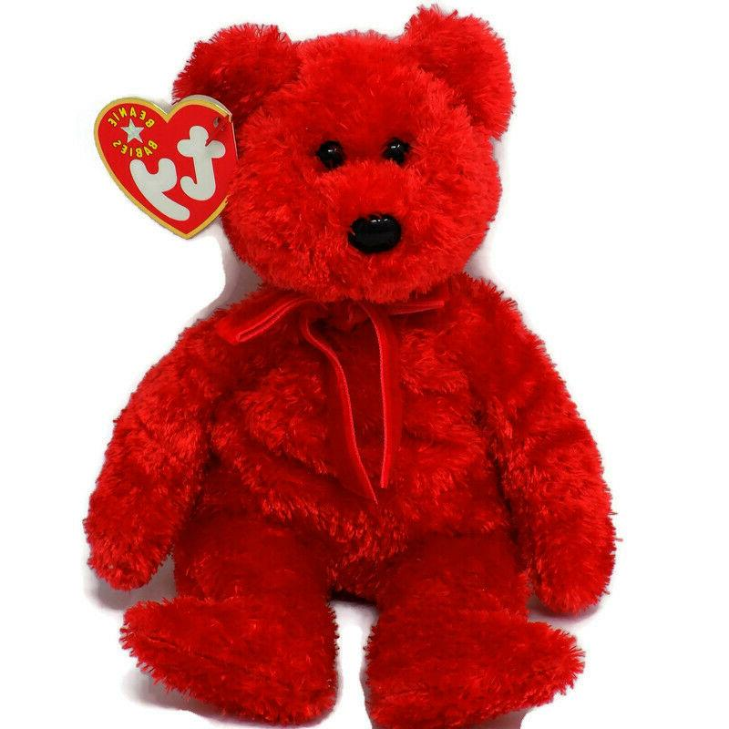 sizzle red teddy bear beanie baby babies