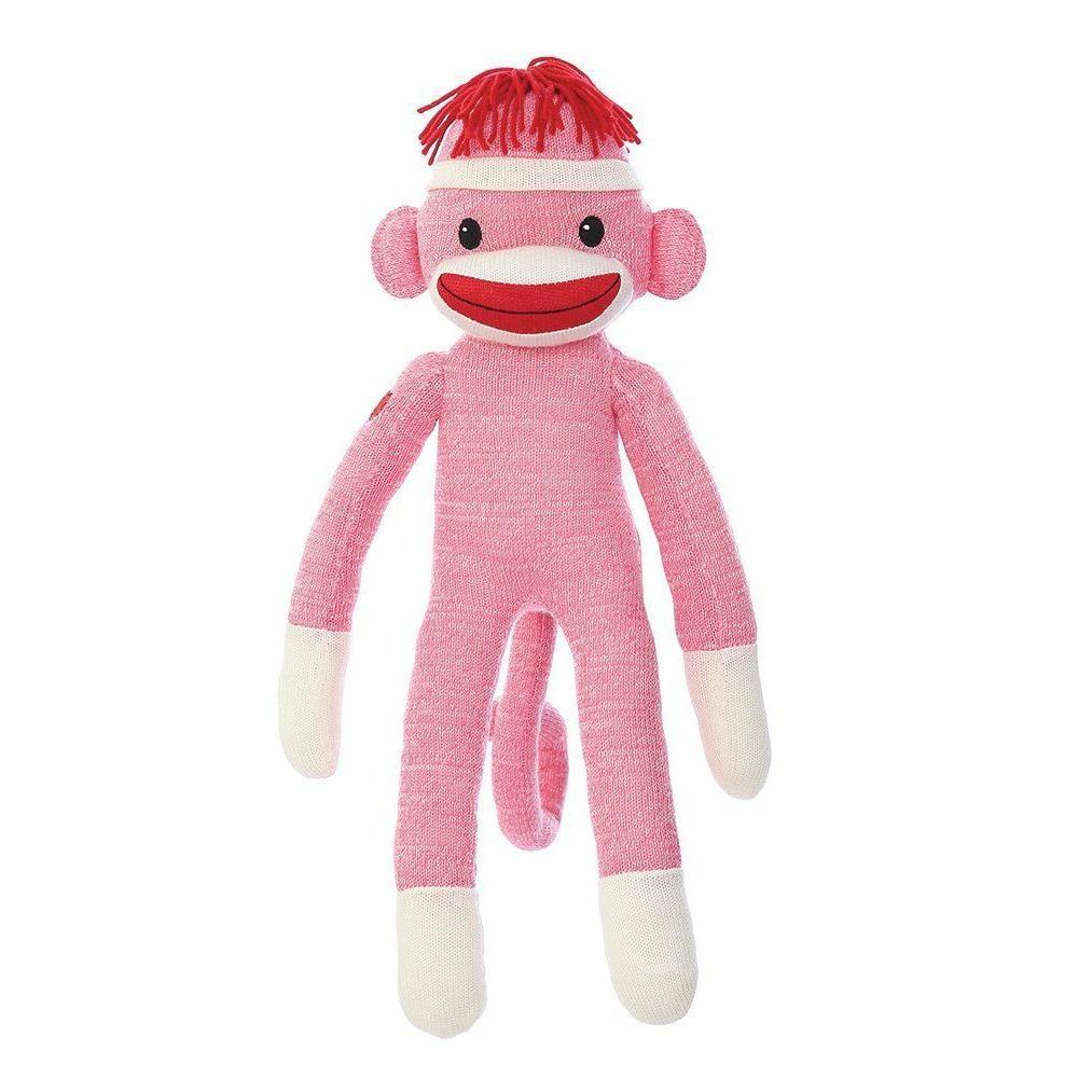 Sock Monkey Tall Plush Stuffed Animals Kids Toys Gifts Pink