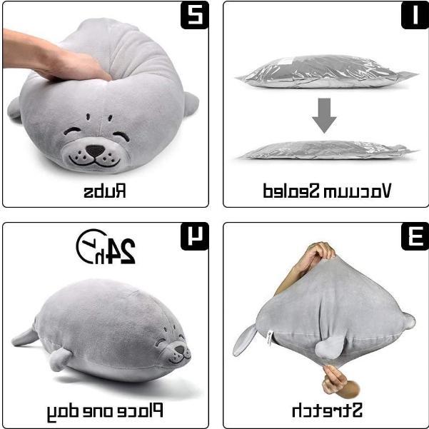 Stuffed Seal Plush Soft Big Toy Kid Chest Pets Grey New