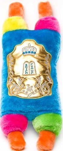 Amazing Technicolor Stuffed Torah with Attached Shiny Gold C