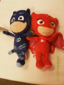 LOT OF 2 PJ MASK SMALL PLUSH TOY'S   CATBOY AND OWLETTE    N