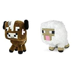 "Minecraft Overworld 7"" Plush SET of 2: Baby Cow and Baby She"