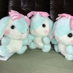 AMUSE - Mint Green Pink Stripe Bow Bunny Rabbit Easter Plush
