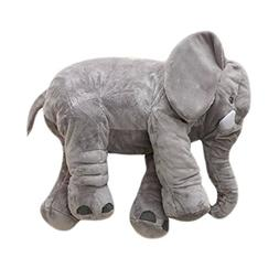 MorisMos Stuffed Elephant Plush Pillow Toy Grey 24 inch/60cm