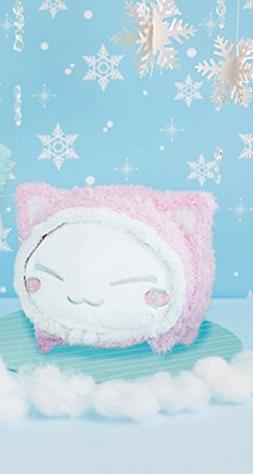 FuRyu Nemuneko 13'' Fluffy Big White Cat Plush With Pink