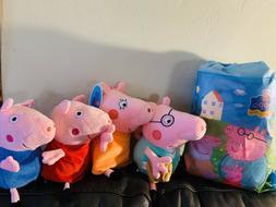 "New 4pcs Peppa Pig Family Doll Stuffed Plush Toy 12"" DADDY M"