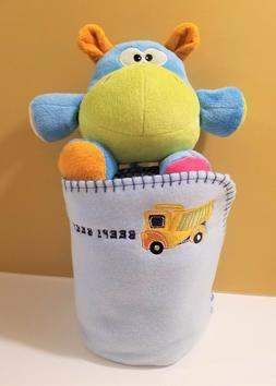 New Baby Boy Receiving Blanket w/ Embroidered Truck & Plush