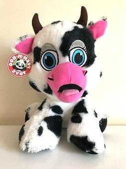 NEW Large 12'' Cow Plush Toy by Peek-A-Boo. Black and White.