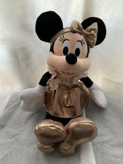 """NEW Disney Parks 12"""" Minnie Mouse Rose Gold Plush Toy NWT Di"""