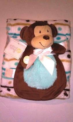 NWT Baby Gear Boy Plush Monkey Toy Security Blanket Gift Set