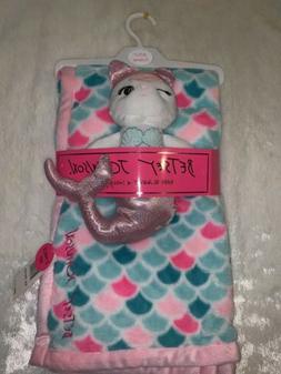 NWT Betsey Johnson Plush Baby Blanket & Snuggle Toy- Mermaid
