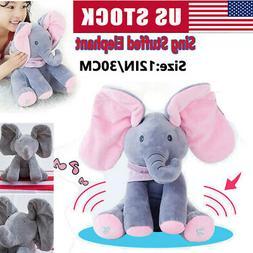 Peek-a-boo Elephant Bear Baby Plush Toy Talking Singing Stuf