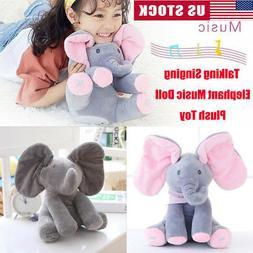 Peek-a-boo Talking Singing Elephant Music Doll Plush Toy Stu
